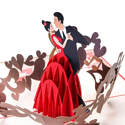 Valentinstag Karte, Tänzerin & Tänzer, 3D Pop Up Karte, Valentinskarte für Sie & Ihn, als Geschenk zum Valentinstag, oder als Gutschein, Liebeskarte mit Herz, Ich liebe Dich Karte
