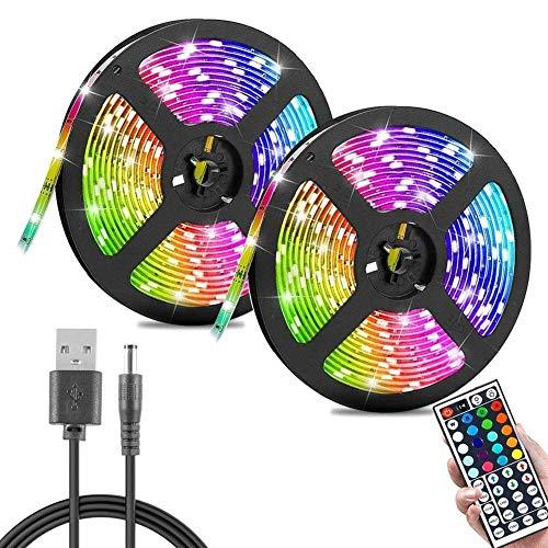 Tira LED Tiras LED Multicolor 600 LED 3528 RGB IP33 Impermeable Control Remoto de 44 Teclas USB Recargable para Decoración de Casa Jardín Fiesta (15M)