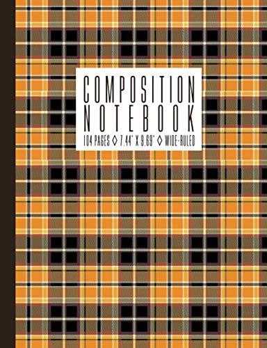 Composition Notebook: Halloween Fall Autumn Tartan Plaid, 104 pages, 7.44