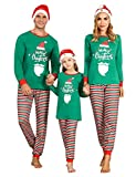 Irevial Matching Christmas Pjs for Family, Round Neck Long Sleeve Pajamas Set Cotton Knit 2 Piece Sleepwear with Striped Pants Holiday Jammies Nightwear Green S