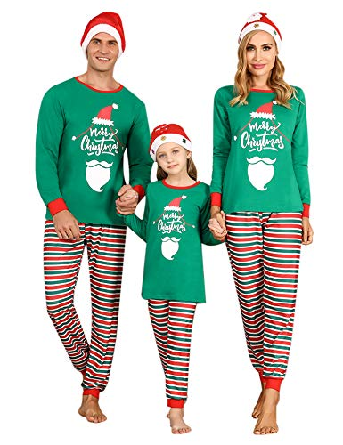 Irevial Matching Christmas Pjs for Family, Round Neck Long Sleeve Pajamas Set Cotton Knit 2 Piece Sleepwear with Striped Pants Holiday Jammies Nightwear Green L
