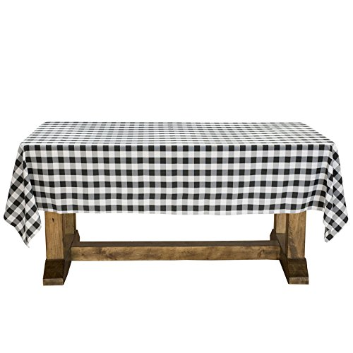 Lann's Linens - 60' x 102' Premium Checkered Tablecloth - Rectangular Polyester Fabric Picnic Table Cover - Black & White Gingham Cloth