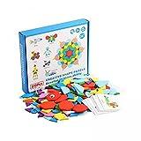 N\C 210 piezas patrón de madera forma geométrica bloque ojos imagen animal tarjeta set creativo preescolar niños rompecabezas educativo juguete