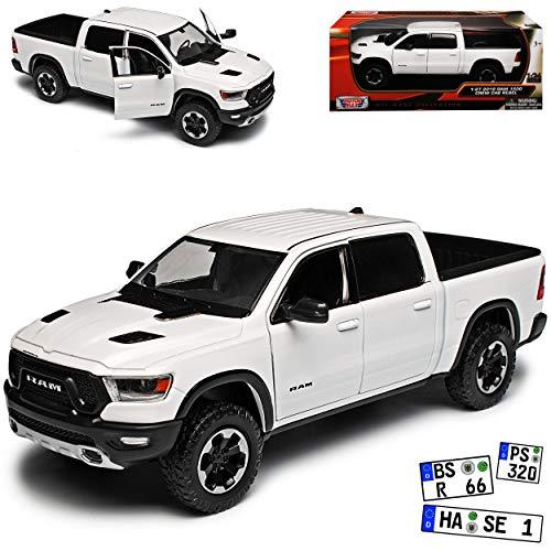 Motormax Dodge Ram 1500 Pick-Up Doppelkabine Weiss 5. Generation Ab 2019 1/24 Modell Auto mit individiuellem Wunschkennzeichen