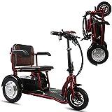 SZ-DDC 3 Ruedas Scooters motorizados para Adultos Plegable Scooter eléctrico para Urban Rojo Ocio,Rojo