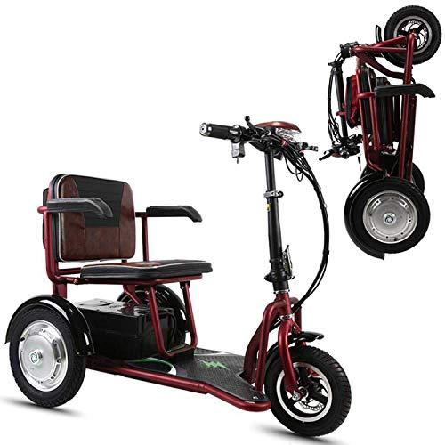 SZ-DDC 3 Räder Mobilität Motorroller für Erwachsene Folding Elektro-Scooter für städtische Freizeit-Rot,Rot