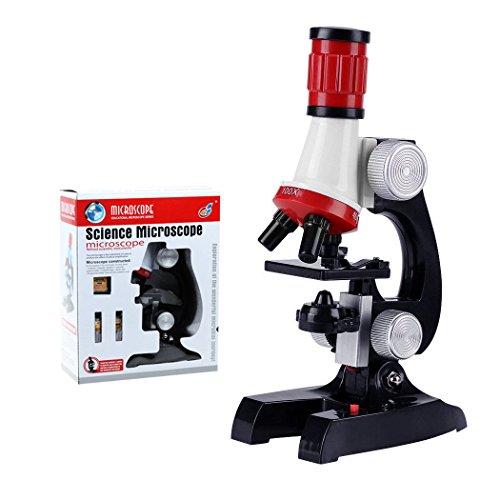 ALEENFOON Microscopio para niños, 1200x, 400x, 100x, kit de microscopio de ciencia para niños con luces LED, incluye juego de accesorios para principiantes educación temprana