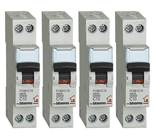 Bticino Interruptor magnetotérmico, kit 4 unidades, 10 A