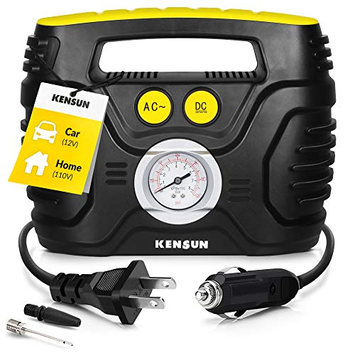 Kensun Portable Air Compressor Pump for Car 12V DC and Home 110V AC Swift Performance Tire Inflator 100 PSI for Car - Bicycle - Motorcycle - Basketball and Others with Analog Pressure Gauge (AC/DC)