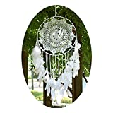 EasyBravo Große Boho Traumfänger Weiße Feder Makramee Wandbehang Vintage Hochzeit...