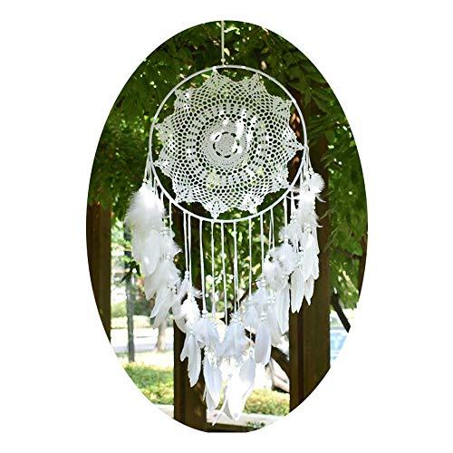 EasyBravo Grand Boho Capteur de rêves Plume Blanche Macramé Tenture Murale Vintage Wedding Home Décorations 40cm Cercle 115cm Long