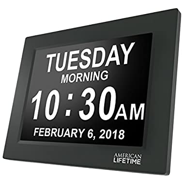 American Lifetime [Newest Version] Day Clock - Extra Large Impaired Vision Digital Clock with Battery Backup & 5 Alarm Options (Black Finish)