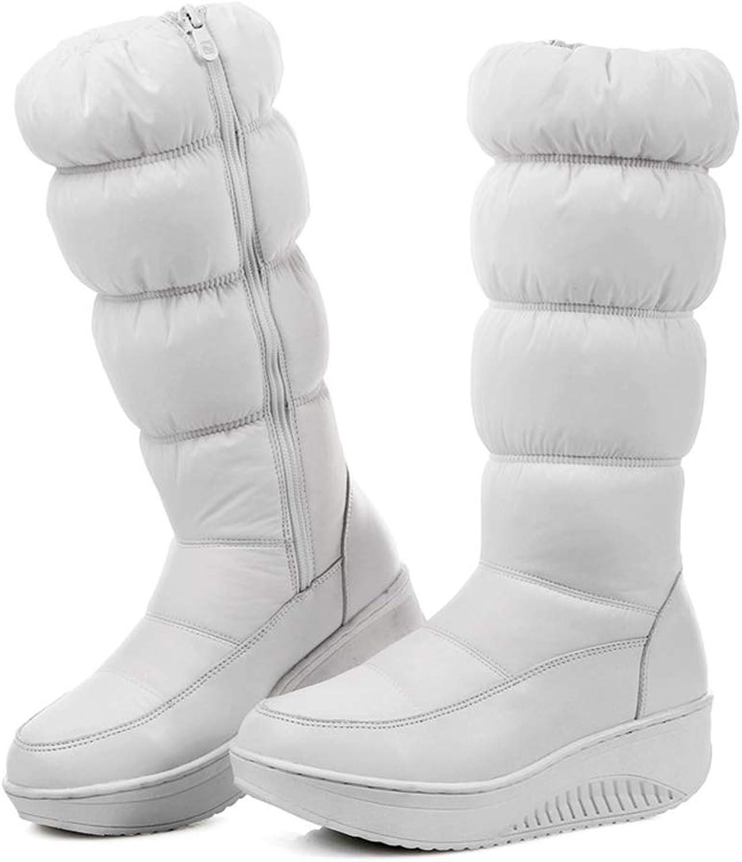 LVYING Womens Winter Snow Boots Platform Wedges Zipper Down Waterproof Mid Calf Boots