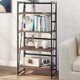 4-stufiges rustikales Bücherregal, industrielles Bücherregal aus Holz und Metall, stehendes Regal für Dekorationen oder Aufbewahrung