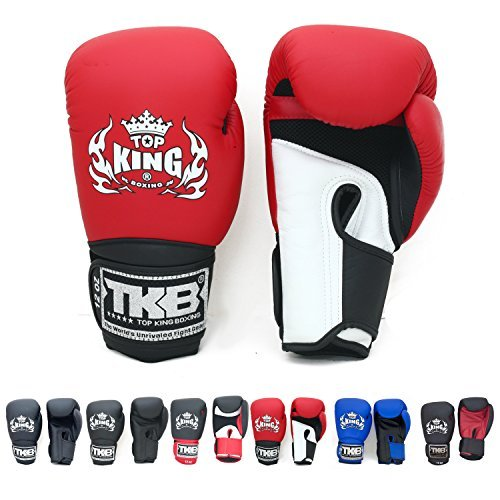 KINGTOP Top King Gloves for Training and Sparring Muay Thai, Boxing (Air - White/Red/Black 16 oz)
