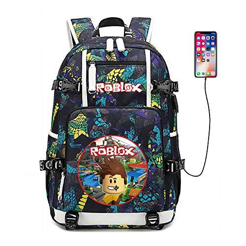GUJUN Mochila Roblox Game Print Mochila De Viaje USB Mochila Deportiva Bolsa De Computadora Bolsa De Estudiante Juego Juvenil Fan Gift