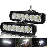 Kashine 18W LED Luz de Trabajo Bar Lampara de Niebla Inundación del LED Faro Auto Camion Carro ATV SUV Barco Minería Tractor 6000K (2 Piezas)