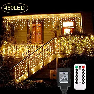 B-right 480 LED Icicle Lights, 32.8ft x 2.6ft Window String Lights Plug in Remote 29V 8 Modes Window Curtain Lights for Home Garden Bedroom Wedding Party Outdoor Indoor Wall Decorations, Warm White