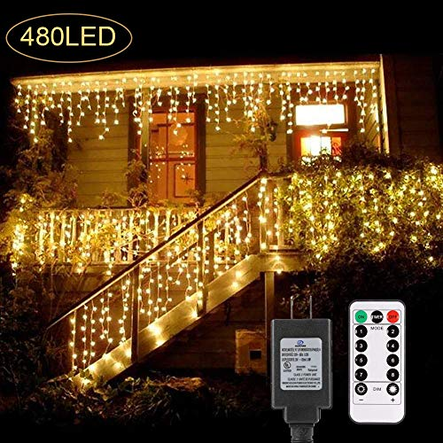 B-right 480 LED Icicle Lights, 32.8ft x 2.6ft Christmas Lights Plug in Remote 29V 8 Modes LED String Lights for Home Bedroom Wedding Valentines Party Curtain Indoor Wall Decorations, Warm White