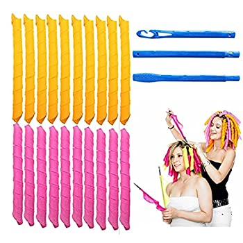 Magic Hair Curlers Spiral Curls Styling Kit 18 No Heat Hair Curlers and 1 Styling Hooks for Extra Long Hair Up To 22   55 cm   20PCS