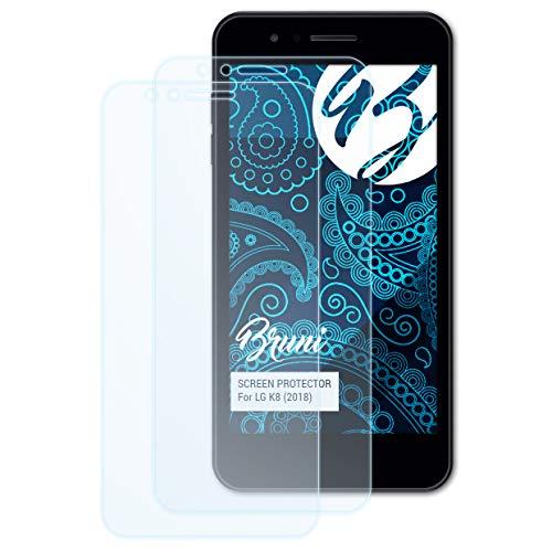 Bruni Schutzfolie kompatibel mit LG K8 (2018) Folie, glasklare Bildschirmschutzfolie (2X)
