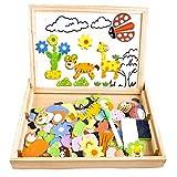 Puzzles Enfant en Bois Magnétique, COOLJOY Jigsaw avec Tableau Noir de Chevalet à Double Face Jouets Educatif pour Bambin Enfants Fille 3 Ans 4 Ans 5 Ans - 100 Pièces (Animaux)