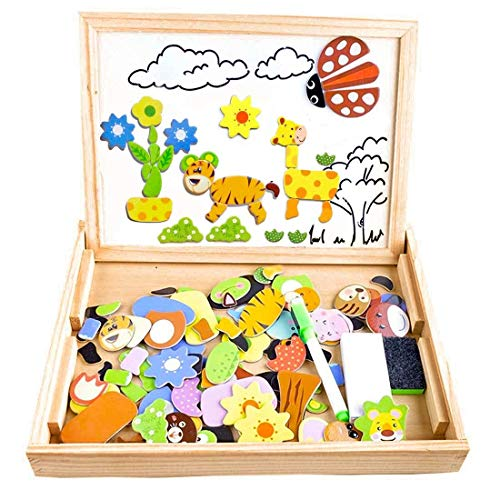 Puzzle Magnetico Legno, COOLJOY Giocattolo di Legno Bambini con Lavagna a Double Face , Apprendimento Educativo Bambini 3 anni 4 anni 5 anni - quasi 100 Pezzi - può Attaccare sul Frigorifero(Animale)
