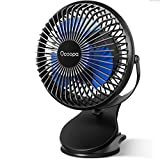 10000mAh Battery Operated Fan Clip on, Compact Rechargeable Personal Fan, 3 Speeds, USB Desk Fan, 40Hrs Longlasting for Golf Cart Treadmill Camping Home Office