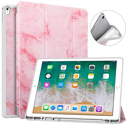 MoKo Case Fit iPad Pro 12.9 2017/2015 with Pencil Holder - Slim Lightweight Smart Shell Stand Cover Case with Auto Wake/Sleep Fit iPad Pro 12.9 Inch Tablet(1st & 2nd Gen) - Pink Marble