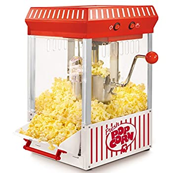 Nostalgia KPM200 2.5-Ounce Tabletop Kettle Popcorn Maker Makes 10 Cups With Kernel & Oil Measuring Spoons and Scoop Perfect for Birthday Parties Movie Nights Main White/Red