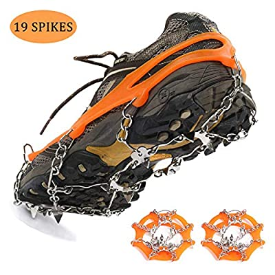 EKVINOR Ice Cleat 19 Spikes Crampons, Anti Slip Stainless Steel Spikes Footwear Crampons, Ice Snow Grips for Walking, Jogging, Climbing and Hiking on Snow, Ice, Mud, Sand and Wet Grass (Orange)