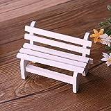 Miniatura Dollhouse Paisaje Ornamento Planta DIY Craft Home Garden Decor Banco de silla de madera White Home decor