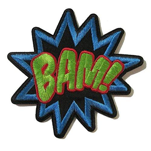 CoolPart Patchs brodés thermocollants Bamsuperhero Comics Rétro Fun Bam Word Patchs pour veste Tissu Autocollant Vêtement DIY Accessoire Parfait