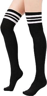 Women Thin Stripes Tube Socks Thigh High Tights Over Knee...