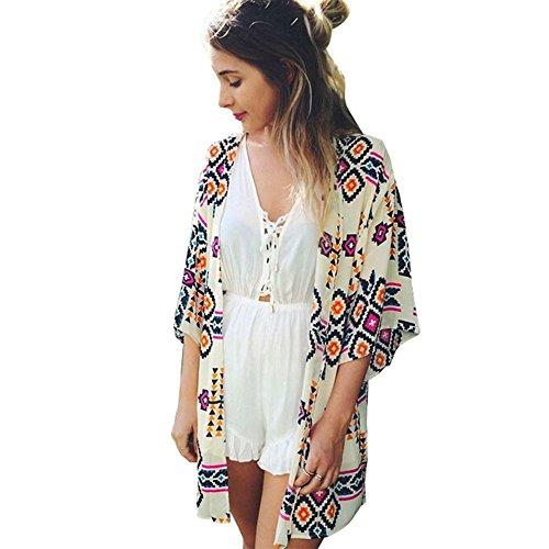 Culater Mujeres Tops Cardigan Chal de Gasa Kimono Impresos Encubrir Blusa (S, Multicolor)