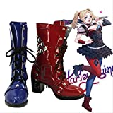 BELUNOT Batman Arkham Knight Harley Quinn Cosplay Halloween Party Shoes Blue and Red Boots Custom Made