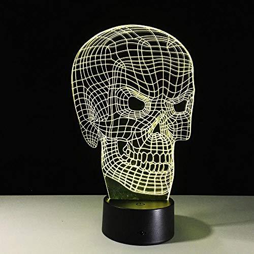 Schädel 3D Optische Täuschung Tischleuchte Stimmung Lampe Touch Fernbedienung 7 Farben Home Light Party Decor Neuheit Geschenke Fernbedienung