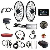 RICETOO Electric Bicycle Waterproof Conversion Kit,E-Bike Waterproof Connector,48V 500W Hub Motor, Rear Rotate 26 Inch Motor Wheel, Brushless Gear Motor,KT-LCD8H Color Display