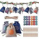 Colmanda Bolsa Calendario Adviento, 24 Bolsa Regalo Navidad