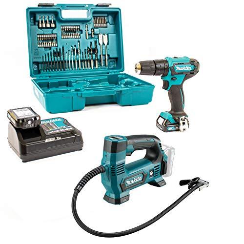 Makita Kompressor 12V MP100DZ + Schlagbohrschr. HP333DSAX1 2x 2,0Ah|Lader|Koffer