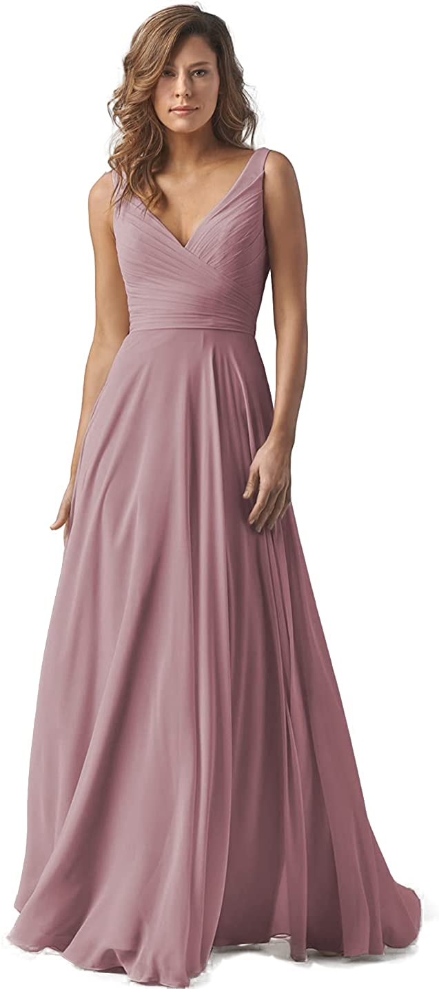 DFDG Women Double V-Neck Sleevless Bridesmaid Dresses Ruched Chiffon A Line Long Formal Prom Evening Gowns CM019