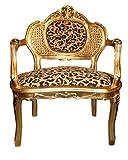 Casa Padrino Baroque Bench Tiger Pattern/Gold Antique Chair