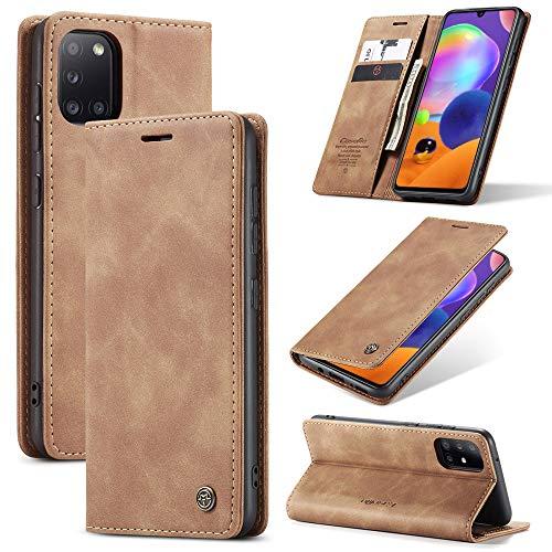 KONEE Hülle Kompatibel mit Samsung Galaxy A31, Lederhülle PU Leder Flip Tasche Klappbar Handyhülle mit [Kartenfächer] [Ständer Funktion], Cover Schutzhülle für Samsung Galaxy A31 - Braun