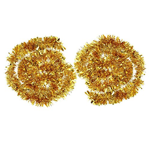 BBTO 2 Stück Metallische Lametta Girlanden Glitzernde Lametta Draht Girlande Weihnachtsbaum Dekoration Girlande Glänzende klobige Girlanden, 4 Meter Gesamt (Gold)