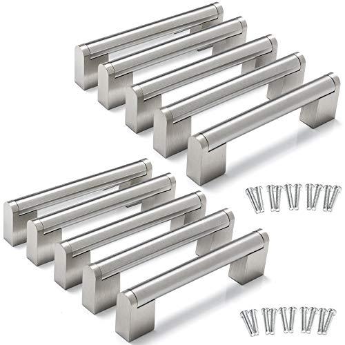 10 Stück Yorbay Edelstahl Möbelgriffe Mehrweg, Rohr-Durchmesser:14 x 14 mm, Silber (Bohrlochabstand: 96mm)
