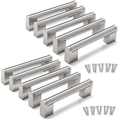 Yorbay 10x Tirador de barra Manija barral acero de inoxidable, Distancia de agujeros: 96mm / 128mm, Plata (128mm)
