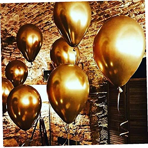Ruluti 100pcs 10' bright Gold Latex Balloon Celebration Wedding Party Supplies