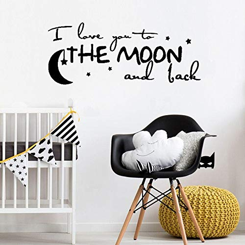 Wall Stickers For Living Room, I Love You To The Moon And Back Quote Baby Nontoxic Pvc Wallpaper Artwork Bedroom Wall Diy Sticker Poster Hanging Picture