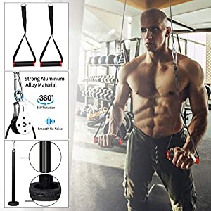 PELLOR Fitness LAT and Lift Pulley System, Forearm Wrist Weight Pulley Cable Machine for Home Gym Fitness Equipment, Arm Strength Exerciser for for Triceps Pull Down, Biceps Curl, Back, Shoulder