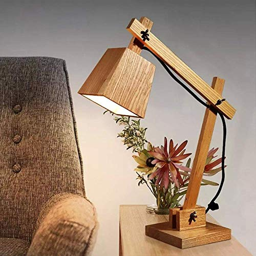 Rnwen Lámpara de Escritorio Lámpara de Mesa de Madera Maciza Simple y Creativa Personalidad lámpara de mesita de Noche de Dormitorio de Estudio de Moda nórdica 160 * 350 * 470